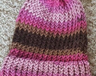 Pink and Brown Striped Knit Hat