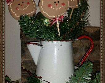 handmade primitive gingerbread pokes, Christmas pokes, OFG,FAAP, Christmas decor, primitive Christmas decor, kitchen decor, crock pokes