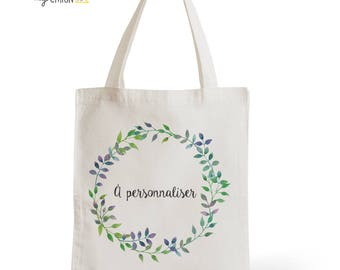 Tote Bag personalized twigs wedding, romantic gift for her, gift for Valentine's day for him, typography, statement, quote