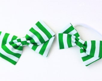 Green Hair bow - Green and White Striped Hair Bow - Baby & Girl Headbands and Clips