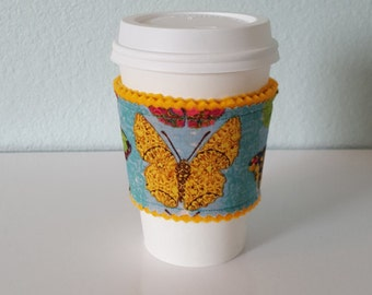 SALE Coffee Sleeve, Coffee Cozy, felt and fabric coffee sleeve *second quality* (yellow felt with multi-color butterfly print)