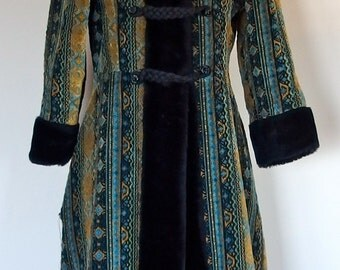 1960s 1970s Tapestry Coat Black Faux Fur Trimmed Hood,Cuffs, Boho