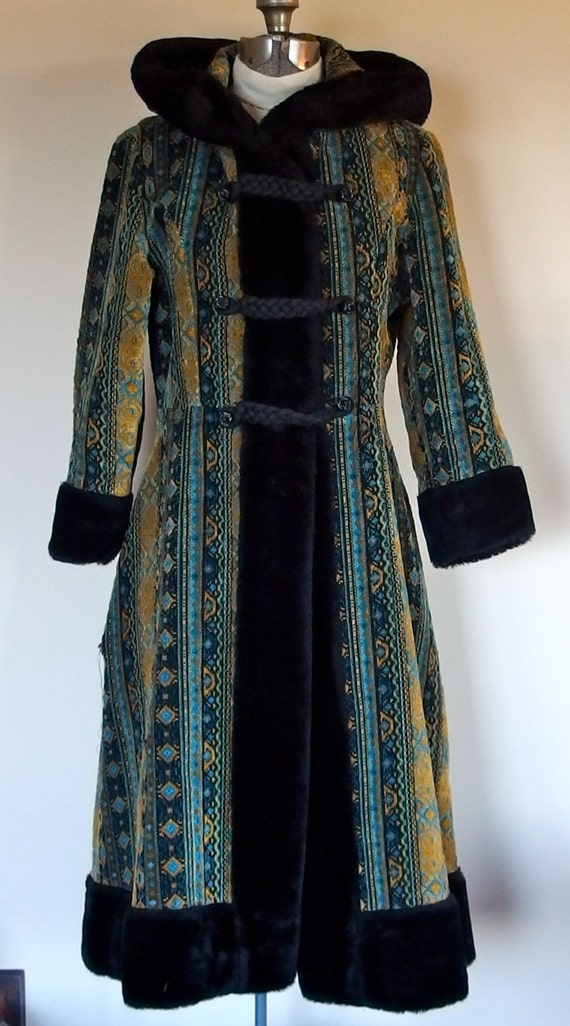 1960s 1970s Tapestry Coat Black Faux Fur Trimmed Hoodcuffs