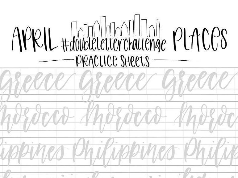 Hand lettering practice sheets double letter words april