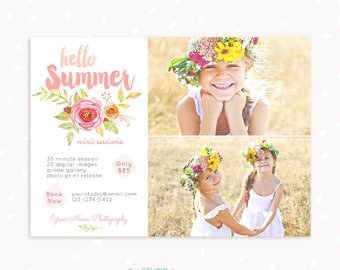 Summer Mini Session Template, Watercolor Floral Summer Mini Sessions, Marketing Board, Photoshop Template, Photography Marketing Set, PSD