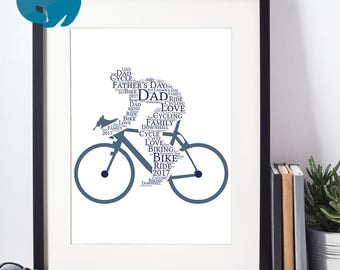 Printable Personalised Cycling Print | Personalized Cyclist Word Art for Dad, Birthday | Digital File | Print Yourself | Father's Day