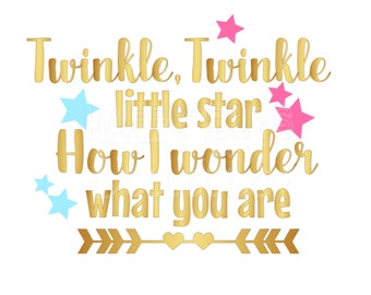 Twinkle Twinkle Little Star How I wonder What You Are Maternity Pregnancy Boy or Girl? Gender Reveal Party Iron On Decal Vinyl for Shirt 050