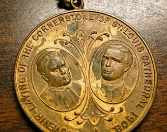 """1908 ST LOUIS Religious Medal - St Louis Cathedral Medal - Laying Of The Cornerstone 1908 - 1 1/2"""" Diameter - Very Nice!!"""