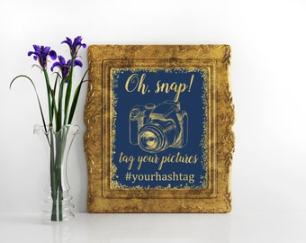 Oh, snap wedding signs Instagram wedding Navy blue and gold glitter sign Wedding hashtag sign Instagram hashtag wedding sign Social media