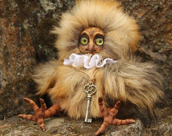 """Art Doll Teddy Doll """"Owl"""".  9,05 inches (23 см). Collectable"""