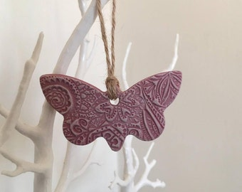 Pink Butterfly Hanging Decoration - door hanger, colourful butterfly, clay butterfly, wedding decor, bedroom decor, butterfly accent