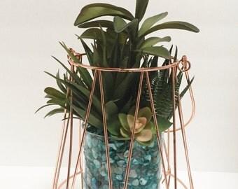 Geometric Terrarium in Copper, Geometric Planter, Faux Succulent Planter, Modern Arrangement, Succulent Terrarium, Succulent Gift
