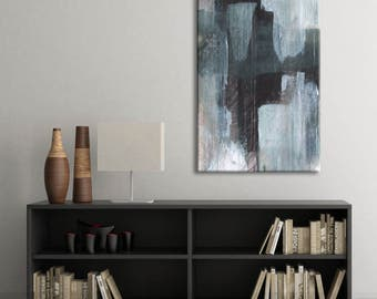 Large Abstract Painting Giclee Canvas Print, Modern Contemporary Art, Gray Black Abstract Cityscape Painting Urban Minimalist Oversized Art