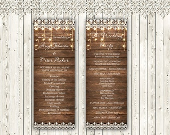 Country Wedding Program Template, Wood and Lace Wedding Template, Editable text, Instant download, code - 039