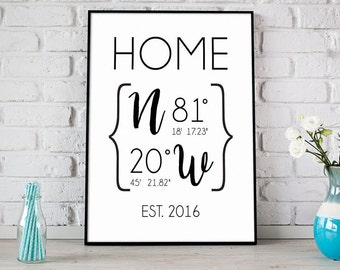 Custom GPS Coordinates Print, Home Decor Printable, Home Sweet Home Print, Housewarming Gift, New Home Gift, Realtor Closing Gift - (D119)