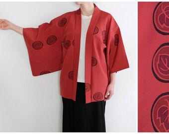 Vintage Japanese Kimono - Traditional Leaf Motif Kimono - Japanese Haori - Vintage Haori - Silk Haori Kimono - Red Short Kimono - Orient