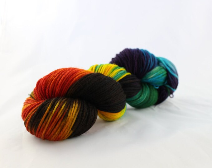 OOAK - Parrot Parade - Sport Weight - Sock Yarn - Arlene Base - 75/25 Merino Nylon - 274 Yards/100 Grams