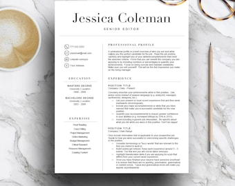 Simple resume template for Word & Pages (1, 2 and 3 page resume, cover letter + icons), curriculum vitae | CV Template | Instant Download
