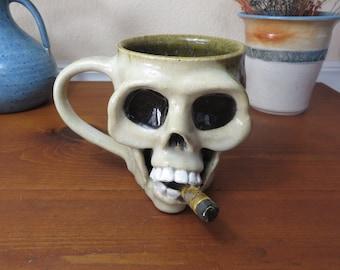 Stoneware Pottery Skull Mug, Coffee Mug, Wheel Thrown Mug, Dia De Los Muertos, Steampunk, Skull Mug, Pottery Mug
