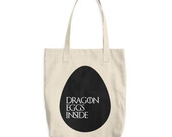 Dragon Eggs Inside - Game of Thrones Bag - Khalesi - Game of Thrones Gift - Quote Bag - Mother of Dragons - Canvas Market bag - Monogram