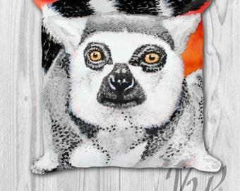 Cute Monkey Pillow cover Bedding throw Ring Tailed Lemur decorative Cushion Madagascar decor nursery bedroom gift decoration animal lover