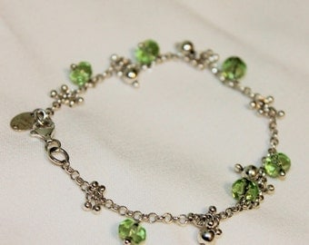 Sterling Silver August Baby Birthstone Bracelet