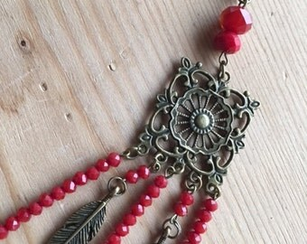 Long necklace * Sultan *, bordeaux red faceted glass beads