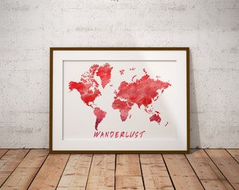 Red world map etsy world map red wanderlust watercolor world map printable worldmap watercolor art gumiabroncs Gallery