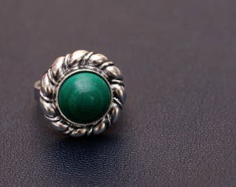Sterling sterling silver natural malachite ring Size (USA) 6 1/4 Made in USSR