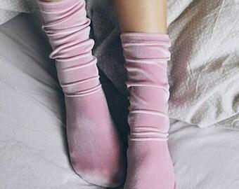 Velvet pink socks Velour socks Unisex hosiery Blush pink Girlfriend Gift for her Soft socks Christmas gift