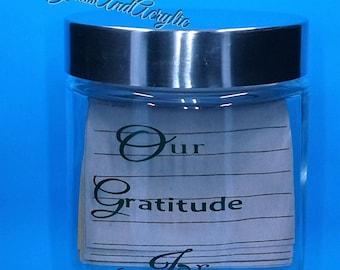 Gratitude Jar,Thankful Poems,Quotes On Thankfulness,Thanksgiving Thanks,Blessings Jar,Glass Jar,Silver Lid,Our Gratitude Jar