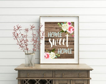Home Sweet Home, home sweet home sign, printable, printables, wood wall art, entryway decor, foyer decor, entryway wall art, wall decor