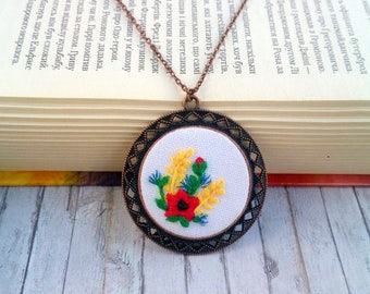 Gift for mother day gift Poppy necklace flower embroidered jewelry Poppies jewelry Ukrainian embroidery jewelry Ukrainian art Round pendant