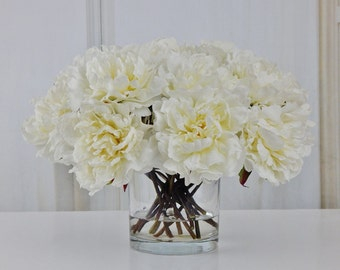 Large, white, peony/peonies, silk, modern, floral arrangement, glass, vase, faux, water, acrylic/illusion, Real Touch flowers, centerpiece
