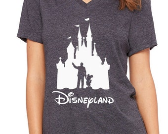 Disney Shirts Ladies Relaxed V-Neck Disneyland Castle Walt  and Mickey Mouse Ladies Shirt Disneyland Shirt Disney World Shirt