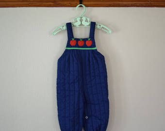Vintage Apple Overalls for Baby Size 6-9 Months - Vintage Baby Clothes - Vintage Baby Overalls - Overalls for Baby - Vintage Clothing