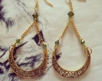 """Earrings """"Emerald moon"""""""