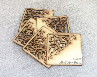 Unique Wedding Favors Coasters Custom Wood Personalized Gift For Guests Drink