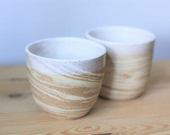 Set of Two Marbled Ceramic Tumblers – Marbled Pottery Cups – Handmade Pottery Tumblers – Ceramic Cup Set – White Cups