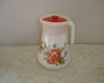 Pichet jug cruche arcopal. Glas pitcher. Etat neuf avec couvercle. Vintage. France