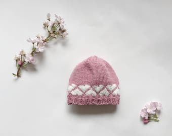 baby girl knitted hat, pink hat with hearts, knit baby hat, classic beanie photo prop, cotton baby hat, newborn to 3 months