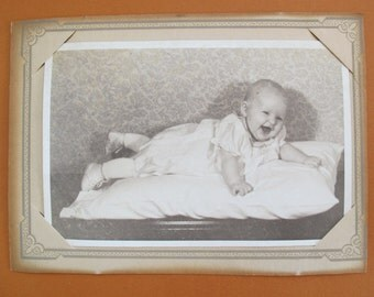 Laughing baby on pillow sepia photo / Vintage baby photo / 4 x 6 baby laying on pillow