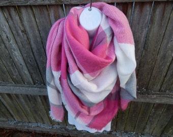 Pink / White / Gray Plaid Blanket Scarf