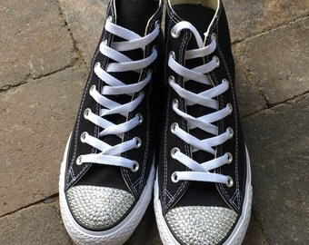 Custom Converse Shoes. High Top Converse. Bling Converse. Flat Wedding Shoes. Dress Shoes. Prom, Sweet 16, Weddings, Dress Shoes, Mitzvahs