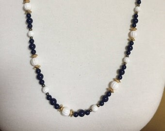"Navy, Gold, and White Beaded Necklace 28"" Nautical Look"