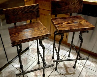 Custom Bar Stool - The Damon - Charred Finish and Black Pipe Legs