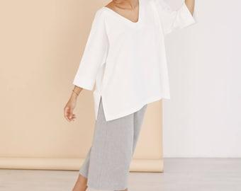 SALE, Oversized tunic top in white, kimono sleeve top, Summer tops, womens tunics, white tunic top, womens clothing, organic cotton tops,