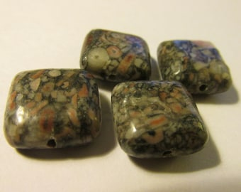 Natural Fossil Jasper Square Puffy Beads, 15mm, Set of 2