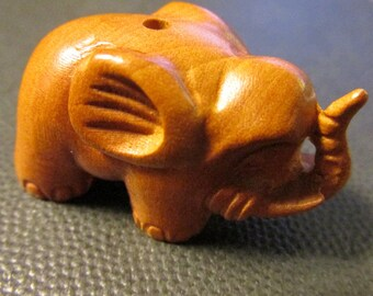 Carved Brown Wooden Elephant Charm-Pendant with Upward Trunk, 1 1/4""