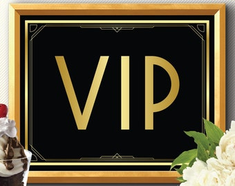 VIP SIGN art deco, Great Gatsby, roaring 20s, party decoration, bar sign, wedding sign, party printable sign, vip decoration, vip sign